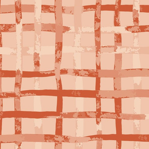 plaid watercolour stripe in orange and cream: jumbo scale for wall paper and home décor items