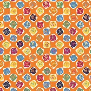 Retro Spirals on orange