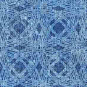 Simple Circles on Coarse Linen in Soft Bright Denim Blue