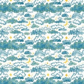 Starry Rainclouds - Grey Blue