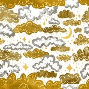 Starry Rainclouds - Mustard Gold  - Small Scale