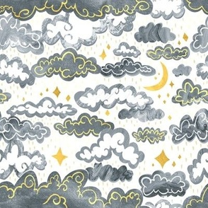 Starry Rainclouds - Grey Gold  - Small Scale