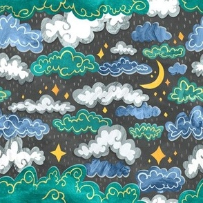 Starry Rainclouds - Grey Blue  - Small Scale
