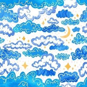 Starry Rainclouds - Cornflower Blue  - Small Scale