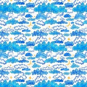 Starry Rainclouds - Cornflower Blue
