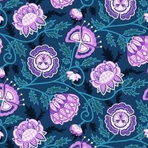 Modern Indian Chintz - Purple & Blue