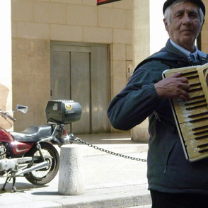Motorcycle with Accordionist, Paris