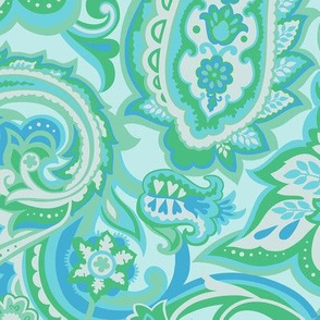 Turquoise Vintage Floral Paisley-Mid Century Modern Floral Paisley-Large Scale