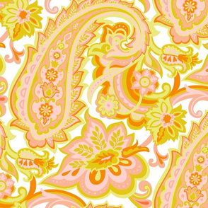Yellow Vintage Floral Paisley-Mid Century Modern Paisley-Large Scale