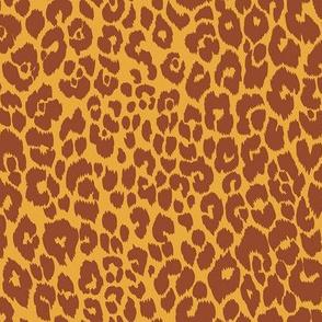 The Leopard's Spots Collection-Mid Century Modern Animal Pattern-Gold Ochre Terra Cotta Regular Scale