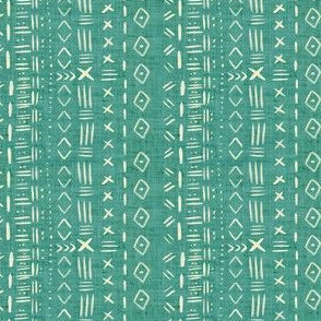 Small Scale Teal Mudcloth