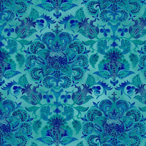 Blue Pomegranate Floral Fortuny Collection- Watercolor Fortuny Pattern-Turquoise Blue Regular Scale