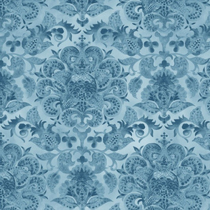 Watercolor Pomegranate Floral Fortuny -Watercolor Fortuny-Soft Gray Blue Regular Scale