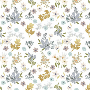 FF pat 5 small scale painterly soft hued field flowers lavender gold periwinkle artistic terriconraddesigns