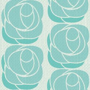 Art Deco roses - teal