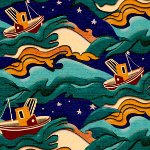 Retro Art Deco cut out boats on stormy seas large