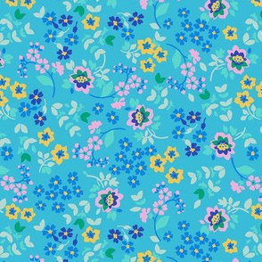 French Wildflowers Valley-Mid Century Modern-Kawaii Style-Blue pink Lilac Gold Small Scale