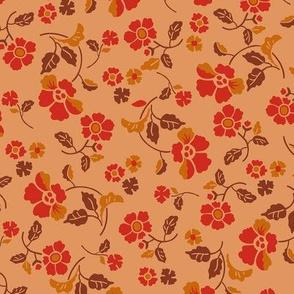 Poppy Field Valley-Mid Century Modern-Kawaii Style-Ochre Terra Cotta Red Small Scale
