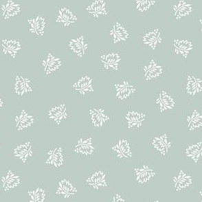 Stylized Dancing Leaves-Mid Century Modern-Country Style-Soft Grey Small Scale