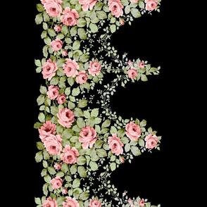 Pink Victorian Rose Border-Black BG