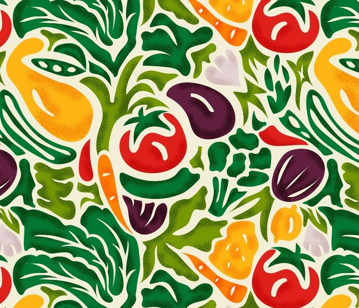 Veggie Delight- Colorful on Eggshell- Large Scale