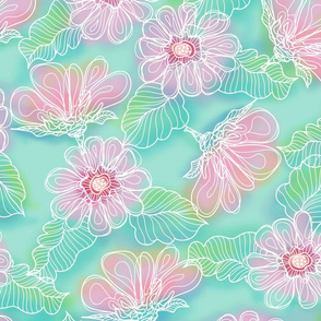 MINT PINK FLOWERS