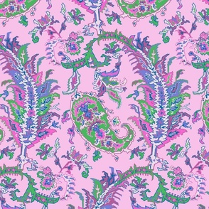 Tree of Life Paisley-Traditional Pink Paisley-Lilac Magenta Green Ivory Large Scale