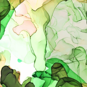 Green Abstract Alcohol Ink