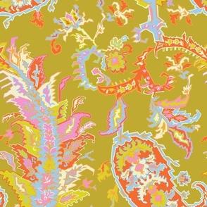 Tree of Life Paisley-Traditional Olive Paisley-Orange Yellow Pink Ivory Baby Blue Large Scale