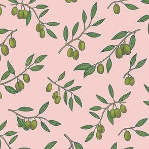 Tuscan Olive Chintz on Blush Pink - Medium