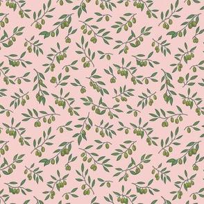 Tuscan Olive Chintz on Blush Pink - Small