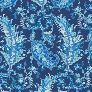 Tree of Life Paisley-Traditional Navy Paisley-Shades of Blue Turquoise Ivory Large Scale