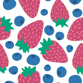 Summer Strawberries and blueberries -Large scale