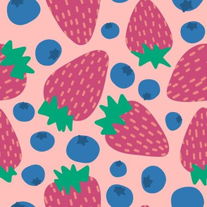 Pink Summer Strawberries and blueberries -Large scale