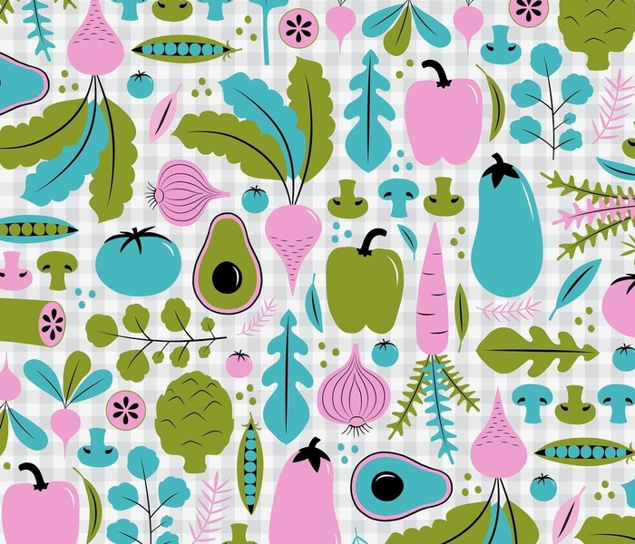 Retro Veggies in pink, blue, green and gray