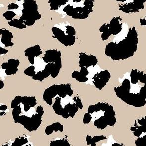 Raw free hand leopard spots wild boho animal print in sand beige black and white  JUMBO