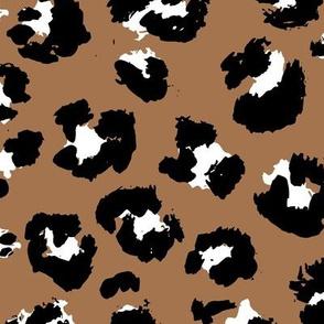 Raw free hand leopard autumn spots wild boho animal print in black and white on caramel rust JUMBO
