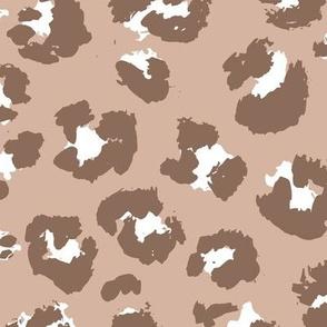 Raw free hand leopard spots wild boho animal print in brown beige latte earthy tones JUMBO