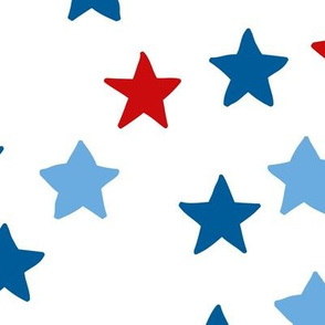 Little sparkly night USA 4th of July stars basic star texture navy blue red  on white JUMBO