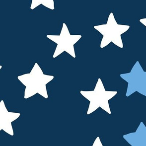 Little sparkly night USA 4th of July stars basic star texture white blue red  on navy blue  JUMBO