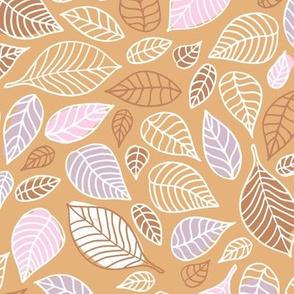 Autumn leaves freehand leaf garden scandinavian style vintage freehand fall design pink caramel burnt orange