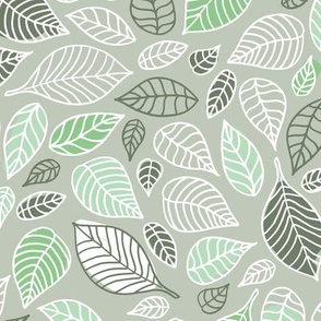 Autumn leaves freehand leaf garden scandinavian style vintage freehand fall design green mist cameo