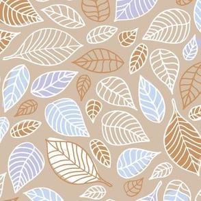 Autumn leaves freehand leaf garden scandinavian style vintage freehand fall design beige sand brown lavender
