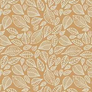 Little autumn leaves boho garden scandinavian vintage outline leaf design in white on caramel