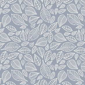 Little autumn leaves boho garden scandinavian vintage outline leaf design in white on cool blue gray
