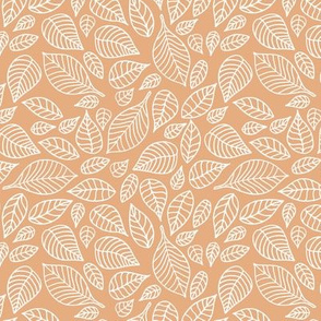 Little autumn leaves boho garden scandinavian vintage outline leaf design in white on coral orange peach