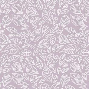 Little autumn leaves boho garden scandinavian vintage outline leaf design in white on lilac mauve