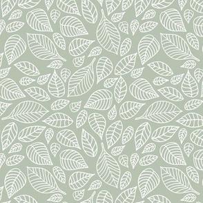 Little autumn leaves boho garden scandinavian vintage outline leaf design in white on sage green