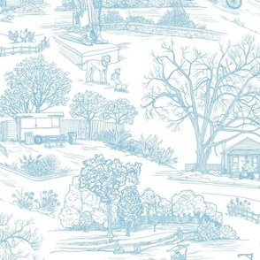 Austin Toile - Calm Blue & White