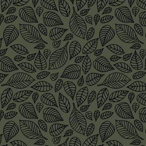 Little autumn leaves boho garden scandinavian vintage outline leaf design black on cameo green